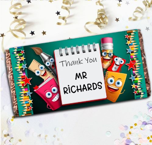 Personalised School Teacher Thank you Milk Chocolate Bar - Stationery Faces Gift N133